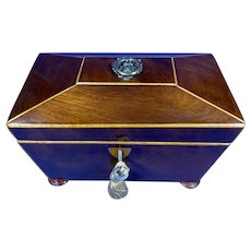 Regency Mahogany Twin Section Tea Caddy.