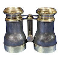 Pair Of Victorian Brass And Pewter Binoculars With a unusual design.