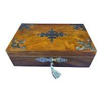 A Victorian Brassbound Walnut Jewellery Box.