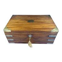 Georgian Solid Mahogany Brassbound Campaign Box.