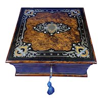 Victorian  French Burr Cedar Jewellery Box with ebonised fruitwood   And It's Original Interior.