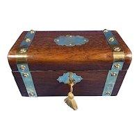 19th Century French Brassbound Oak Tea Caddy.