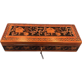 Victorian Satinwood Glove Box With Tunbridge Ware Inlay.