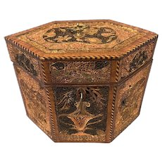 18th Century Rolled Papered Single Tea Caddy.