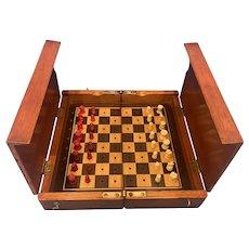 Victorian Travel Chess set Within A Mahogany Box.
