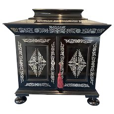 William IV Ebony and Mother Of pearl Inlaid Cabinet.