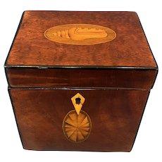 18th Century Harewood Inlaid Single Mahogany Tea Caddy.