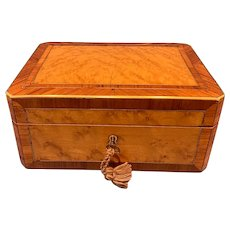 Victorian French Burr Maple and Brass Inlaid Box.