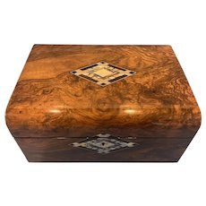 Victorian Walnut Jewellery Box With Mother Of Pearl, Abalone and Ebony inlaid to the centre and key escutcheon.