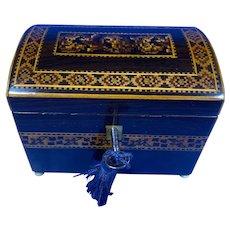 Victorian Mosaic Inlaid Rosewood Miniature Twin Tea Caddy.