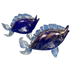A Pair Of  20th Century Italian Murano Glass Fish.