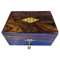 Victorian Rosewood Jewellery Box With Mother Of pearl and Abalone Escutcheons.