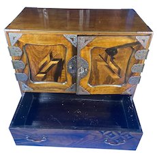 Japanese c.1900 Inlaid Table Cabinet.
