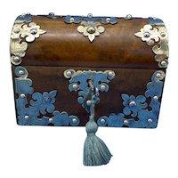 Victorian Brassbound Walnut Casket.