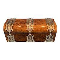 Victorian Brassbound Burr Walnut Glove Box.