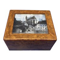 1920s Burr Cedar Box With A  Engraved Mother oPearl Panel  to the top of a  Cathedral