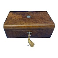 Victorian Nickel/Silver Bound Burr Cedar Box.