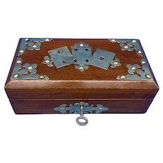 Victorian Brassbound Oak Card Box.