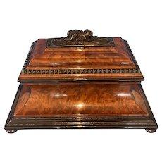 Victorian Burr Cedar & Ebony Shaped Tea Caddy.