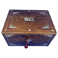William IV Rosewood Jewellery Box Inlaid with Beautiful Mother of Pearl.