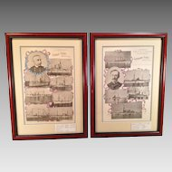 Admiral Dewey and Commodore Schley Prints of Spanish American War  Fleets 1898