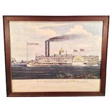 N Currier Print of High Pressure Steamboat Mayflower 1855 Reprint of Original Charles Parsons Print