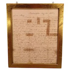 1845 Letter James S. Maxwell to Wife Mary in Louisville KY from Philadelphia