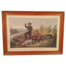 Currier Print Wild Duck Hunting 1854 in Frame