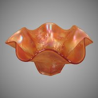 Vintage Orange Carnival Glass Bowl with Flowery Design