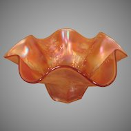 Vintage Orange Carnival Glass Bowl with Flowery Design