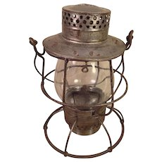 Dietz No 39 Vulcan Railroad Lantern Silver Colored New York Clear Glass Shade