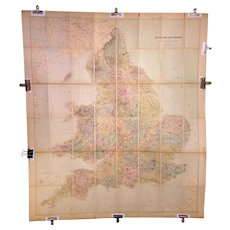 Antique Colored Folding Map of England and Wales by Edward Stanford Late 1880s