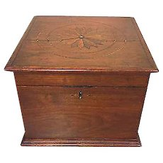 Antique Wooden Case Box with Inlaid Starburst or Compass Design on Top with Inside Drawer Walnut or Mahogany