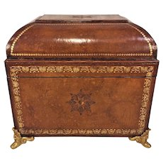 Vintage Continental Style Leather Cover Dome Top Box
