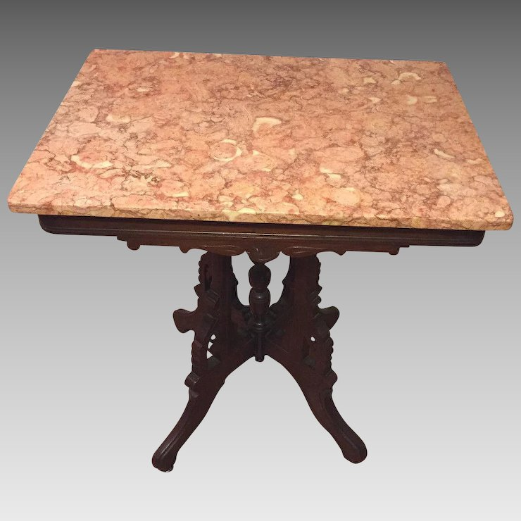 Delightful Antique Victorian Pink Marble Top Table Nice Detailing On Wood Frame