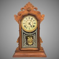 Antique Victorian Ingraham Clock with Alarm Unit Brass Pendulum  Not Running