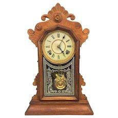 Antique Victorian Ingraham Clock with Alarm Unit Brass Pendulum  Not Running