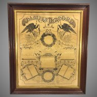 Family Record Fraktur for Bates Family Going Back to 1820s Doc Printed in 1866 Framed with Old Glass Shingle Wood Slat Back