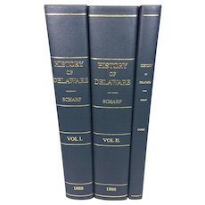 2 Volume Set of History of Delaware w/ Index J Thomas Scharf 2001  Reprint of 1888 Original Printing