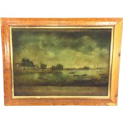 Antique Lithograph or Engraving of View of Hammersmith Looking Down the Thames Done by Boydell #8 Plate in Wood Frame  Item Description