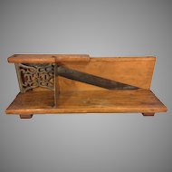 Antique Tucker & Dorsey Slicer Wood Legs Blade In Place Decorative Metal Handle & Metal Scrollwork