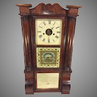 Antique 1850s Forestville Mfg Co (J C Brown) Triple Decker Column & Cornice Clock Unique Elephant Glass Tablet Not Running