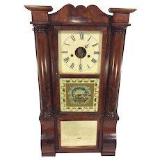 Antique 1850s Forestville Mfg Co (J C Brown) Triple Decker Column & Cornice Clock Unique Elephant Glass Tablet Not Running