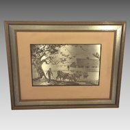 Vintage Jamie Wyeth Sterling Silver Artwork 1977 Pennsylvania Farm Country Issued by Franklin Mint with Certificate of Authenticity  Framed and Matted