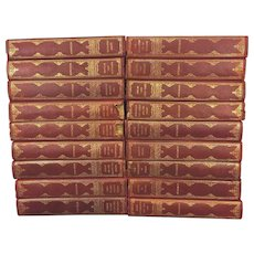 Antique Books 18 Volumes of Luise Muhlbach 1905 Leather Bound Historical Novels w/ Marblized Covers