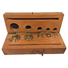 Set of Arthur Thomas Brass Scale Weights in Wood Case Philadelphia PA