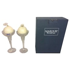 Marquis Waterford Globe Crystal Candlestick Holders w/ Candles & Original Box