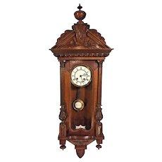 Antique Gustav Becker Vienna Wall Regulator Clock Time & Strike Nice Wood Case Runs 1873-1874
