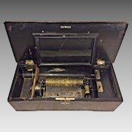 Antique Swiss Music Box Inlaid Case Runs Needs Refurbishing Work No Tune Card