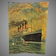 Antique Oil Painting or Gouache by Richard Rummell of the  SS France Ocean Liner w/ Statue of Liberty